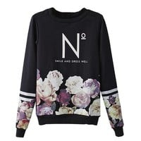Partiss Womens Flower Print Sweatshirt, S, Black