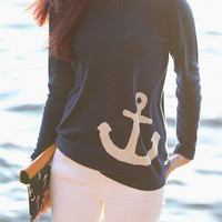 Purplish Blue Anchor Printed Sweatshirt