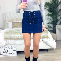 Belle Isle Indigo Denim Lace Up Skirt