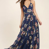 Always There For Me Navy Blue Floral Print Wrap Maxi Dress