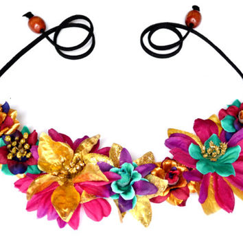 Mardi Gras Flower Crown Floral Headband Hippie Headpiece Unique Purple Gold Green Metallic Party Flower Crown Mardi Gras Costume Accessory