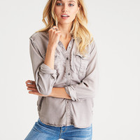 AEO Soft Utility Shirt, Gray