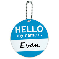 Evan Hello My Name Is Round ID Card Luggage Tag