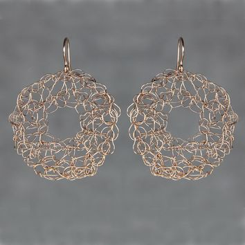 14k rose gold filled crocheted wiring large hoop earring handmade US freeshipping Anni Designs