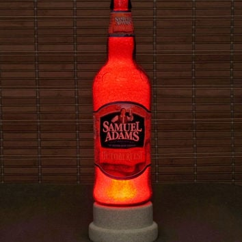 Sam Adams Octoberfest 24oz LED Beer Bottle Lamp Light Bar Man Cave Deep Red Glow