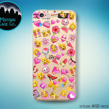 All the Pink Emojis Pattern Girl Queen Hearts Lipstick Love Fun See-Through Clear Transparent Rubber Case for iPod Touch 6th Gen or 5th Gen