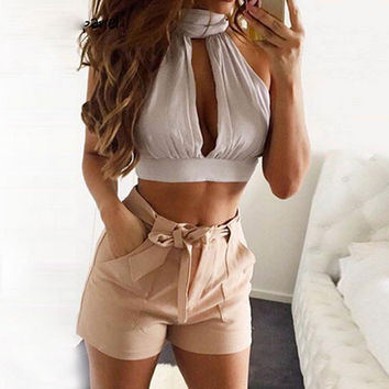 2016 New Bandage Women Crop Top Backless Bodycon Sexy Crop Tops Solid Turtleneck White Tank Top Short Bodycon Black Bralette