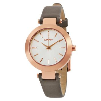 DKNY Stanhope Silver Dial Gray Leather Ladies Watch NY2408