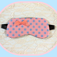 Sleep Mask - Pink Gray - Lace Bow - Small - Polka Dots - Light weight Cute - Woman - Girl - Pre-teen - Teen - Light Blocking - Comfortable