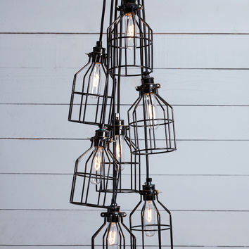 Industrial Chandelier - Black Wire Cage - 7 Light Cluster