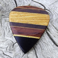Multi-Wood Guitar Pick - Premium Quality - Handmade - Actual Pick Shown - Artisan Ebony Tip Guitar Pick - Made With 5 Different Woods
