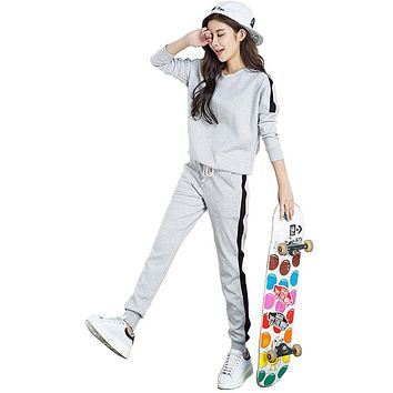 Autumn Women Set Tracksuit Long Sleeve Stitching Sweatshirts Casual Suit Winte Clothes Two Piece Set Tops Pants Sporting Female