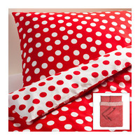 STENKLÖVER Quilt cover and 4 pillowcases - white/red - 200x200/50x80 cm - IKEA