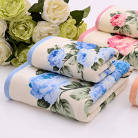 35*75/70*140cm Floral Pattern Cotton Terry Bath Towels,Big High Quality Beach Bathroom Bath Towels for Adults,Serviette de Bain