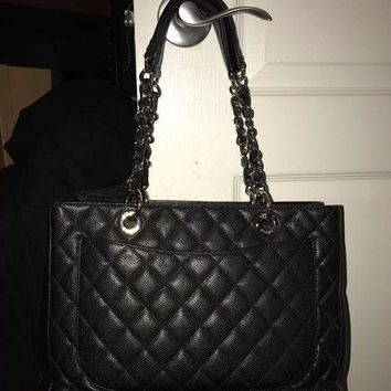 ONETOW Authentic Chanel Black Caviar GST Shopping Tote Bag SHW