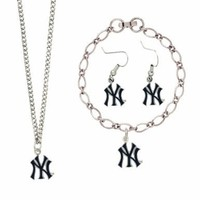 MLB New York Yankees Silver NY Logo Jewelry Set:Amazon:Sports & Outdoors