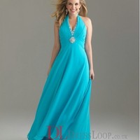 A-Line Halter Chiffon Blue Plus Size Prom Dress/Evening Gowns With Beading VTAU0244863