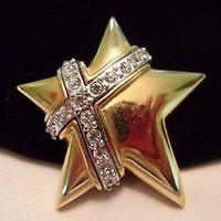 Joan Rivers Brooch Star Glass Rhinestone Crystal Silver Gold Plate