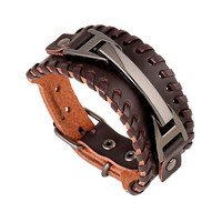 Hot Sale Shiny New Arrival Stylish Awesome Great Deal Gift Jewelry Punk Men Leather Accessory Bracelet [6526776259]