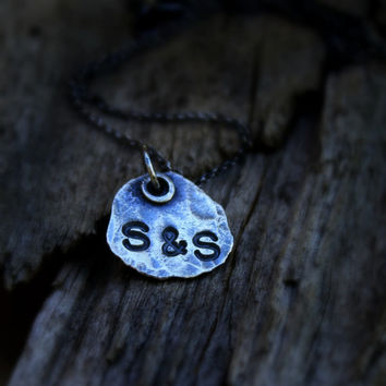 Personalized Charm, Fine  Silver Friendship Pendant, Small Monogrammed Charm, Organic Pendant, Me and You Charm, Rustic Unique Charm