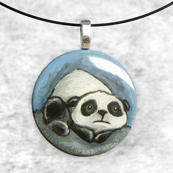 Sad Panda Pendant Hand Painted Necklace Meme by rainbowofcrazy