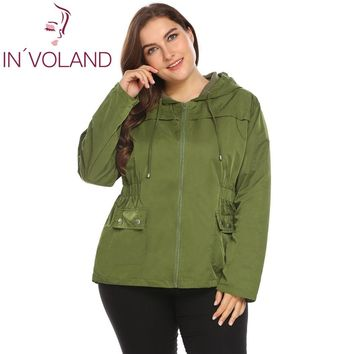 Trendy IN'VOLAND Large Size XL-4XL Women Lightweight Jacket Hooded Full Zip Raincoat Loose Solid Casual Waterproof Big Coat Plus Size AT_94_13