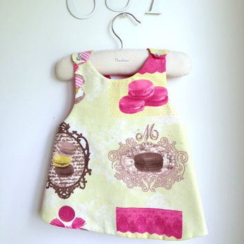 Girls Dress - Reversible Pinafore Top - French Style - The Macaroon Dress - Sizes for babies, girls and toddlers from 6 months to 5Y