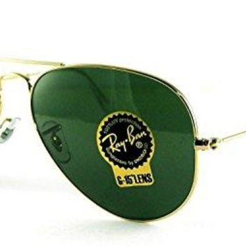 Ray-Ban RB3025 Classic Aviator Sunglasses Gold/Crystal Green (L0205) RB 3025