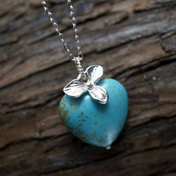 Natural Turquoise Necklace, Turquoise Heart Pendant, Orchid Flower Necklace, Sterling Silver Cable Rhodium Box Chain, Large Turquoise Silver