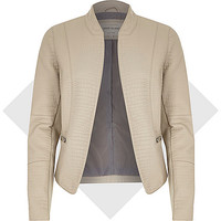River Island Womens Grey leather-look mock croc jacket