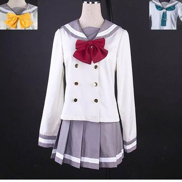 DCCKH6B Anime Love Live! Sunshine!! Aqours Cute Sailor Suit Cosplay Costum Autumn School Uniform Gilr Dress 3 ties