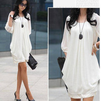 Women's Chiffon Casual Crew Neck Trendy Party Club Mini Dress T-shirt Blouse
