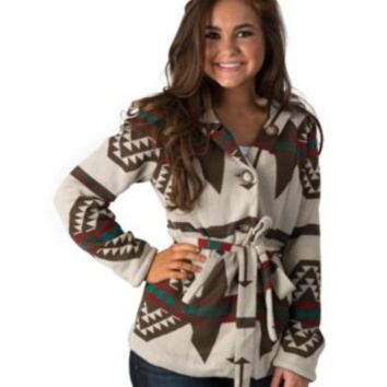 Montanaco Women's Sand with Navajo Print Hooded Jacket