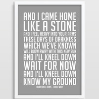 Mumford & Sons - I Will Wait - Music Lyrics - Song Lyric Art - Song Poster - 8 x 10 Print - Wall Art Decor - Typography Print.