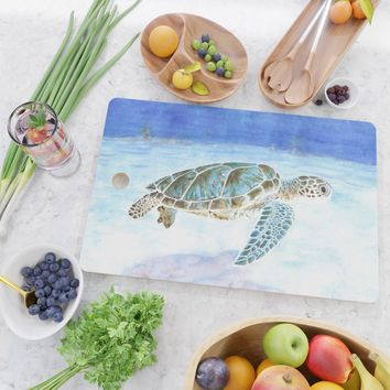 Sea turtle underwater Cutting Board by savousepate