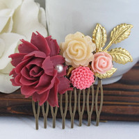 Dark Maroon Large Rose Gold Leaf Hair Comb. Cream, Pink and Bright Pink Florals. Garden Wedding. Bridal Wedding Hair Accessory Hair Comb