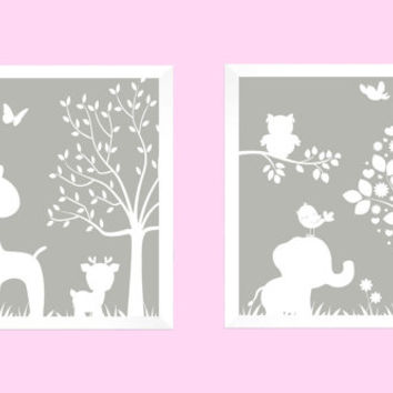 White on Gray Enchanted Forest Animals CUSTOMIZE YOUR COLORS 8x10 Prints, set of 2, elephant nursery decor nursery print art baby room decor