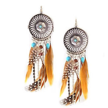 Hollow Fringed Feathers Long Earring ~