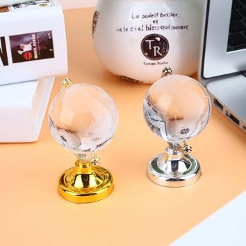 Gold Silver 6.5*4.5*4.5cm Glass Sphere Ball Round Earth Globe Crystal World Map Crafts Art Table Ornaments Collection Desk Decor