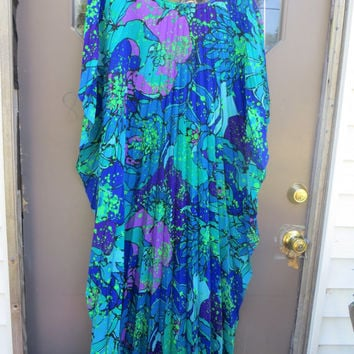 VTG 60s Hawaiian blue flowers MAXI DRESS MuuMuu Caftan\  AccordioN pleated by Miss Hawaii
