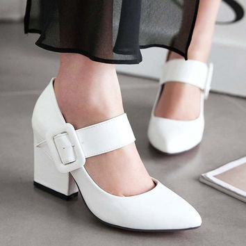 platform Pumps Spring Women Pumps Shoes Women NewBig SIZE34 43 Square Heel Patent Leather Mary Janes Pointed Toe Office  Career