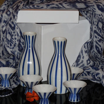 Japanese Blue White Porcelain Sake Set 7 Pieces, 5 Cups, 2 Sake Jugs, Vintage Like Obi Scarf Wrap..Just So Fall, Perfect, Fun & Romantic!!!