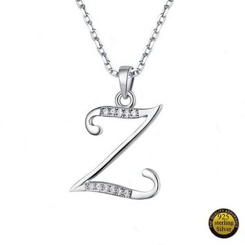 Drop Shipping Pure 925 Sterling Silver Pendants for Necklace Silver Letter S T U V W X Y Z Charms Letters Pendants for Women