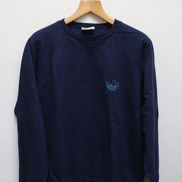 Vintage ADIDAS Pullover Sweatshirt Sweater Blue Color Size M