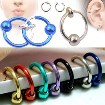 2pcs/Lot Fake Lip Ring Clip Nose Ring lip Septum Piercing Fake Nose Rings Lip Hoop Rings Earrings For Women Body Jewelry