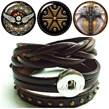 Dark Brown leather snap bracelet wraps- will fit Noosa Chunks or Gingersnap Charms with Angel Wing snap charms.