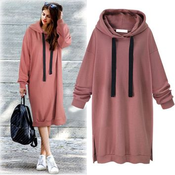 Autumn New Style Solid Color Loose Temperament All Matched Long Style Long Sleeve Hoodie Fleeces