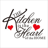 The kitchen is the heart of the home quote wall decal ZooYoo8191 decorative adesivo de parede removable vinyl wall sticker SM6