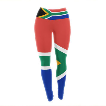 "Bruce Stanfield ""South Africa II"" Green Blue Yoga Leggings"