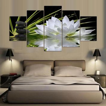 Wall Art Decoration Frame Modular 5 Pieces Pictures White Lotus Flower Water